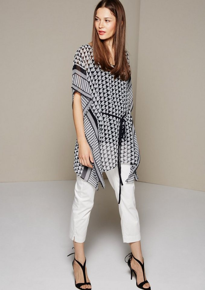 COMMA Hauchzarter Chiffonponcho mit tollem Musterprint in tinte AOP ornament