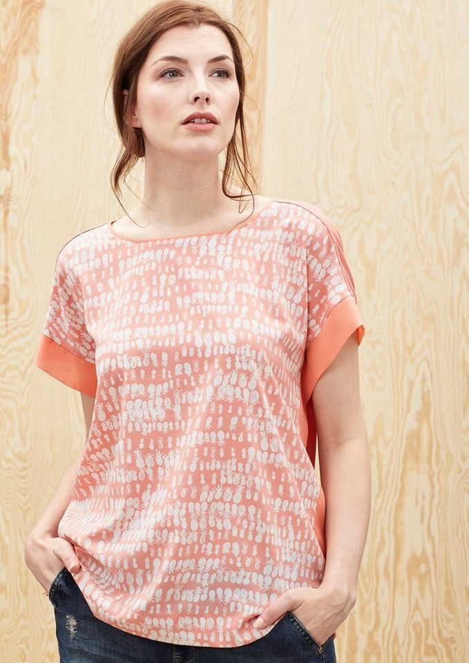 TRIANGLE Blusenshirt mit Ananas-Printmuster in sunset