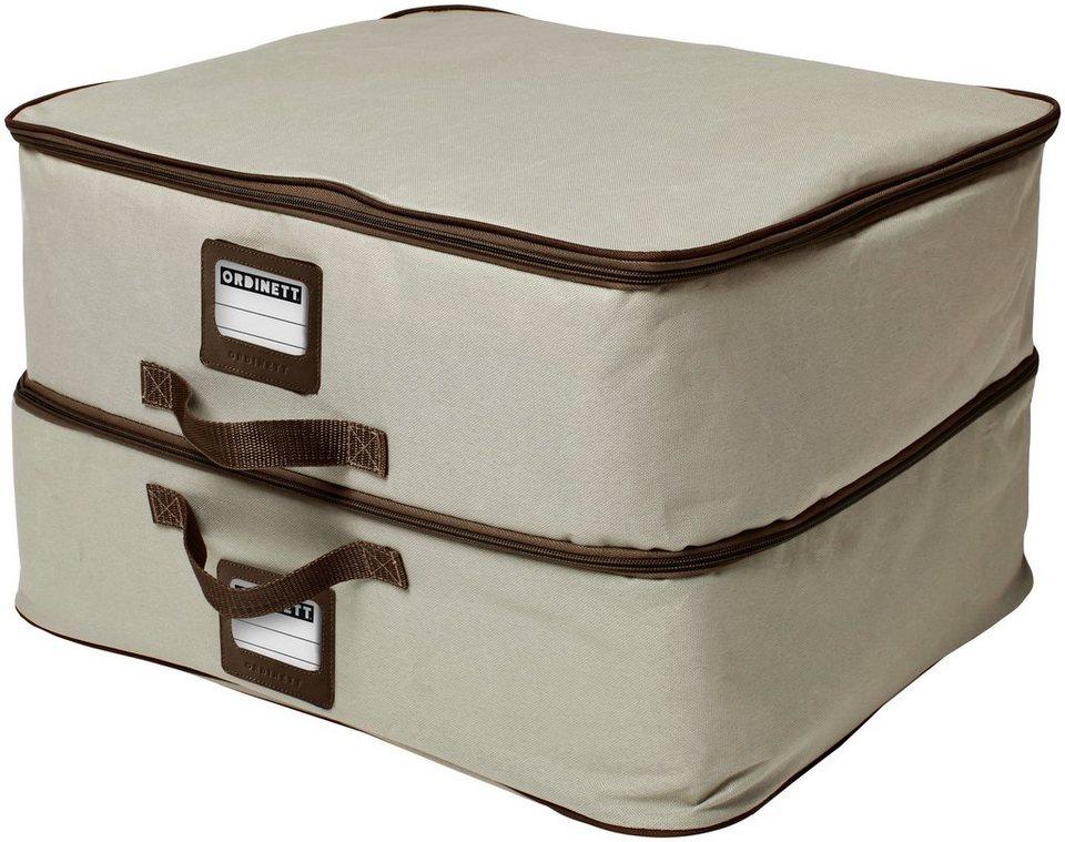 Wäschebox »Double XXL« mit Griff und Beschriftungsfenster in beige