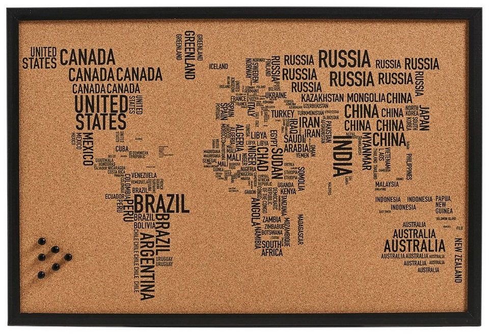 Pinbord »World Letters«, Kork, 60x40 cm in braun