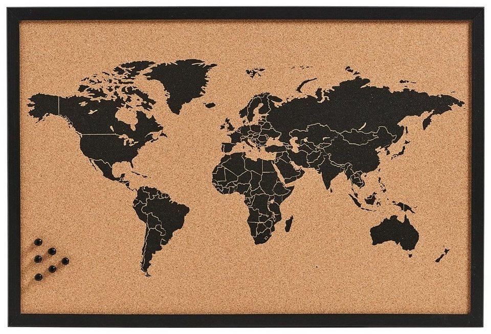 Pinbord »World«, Kork, 60x40 cm in braun
