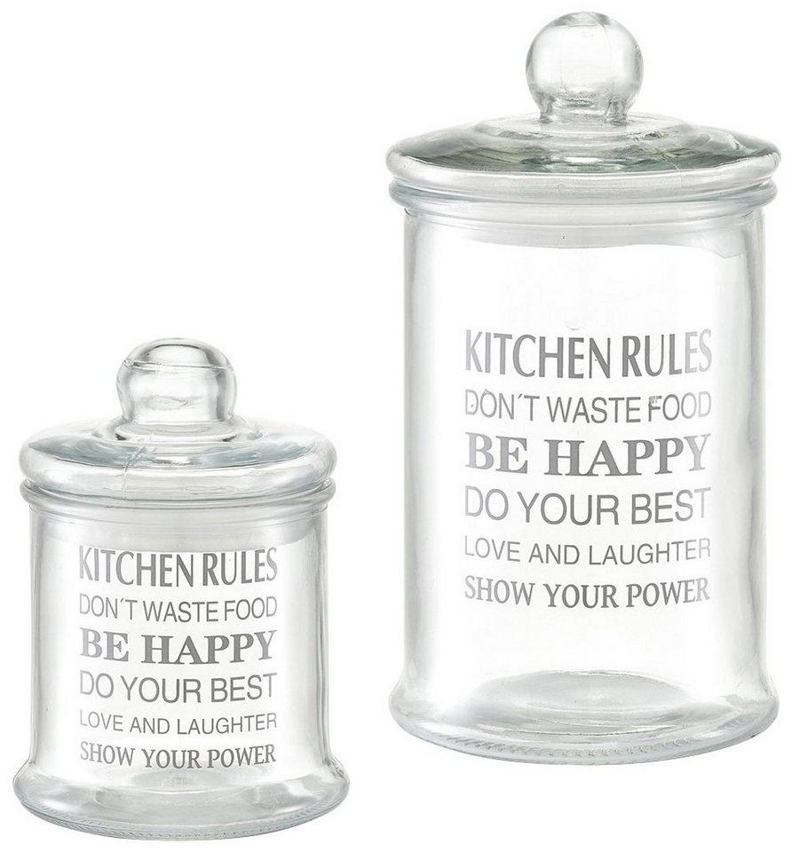 Vorratsglas »Kitchen rules, 2-tlg.« in glasklar