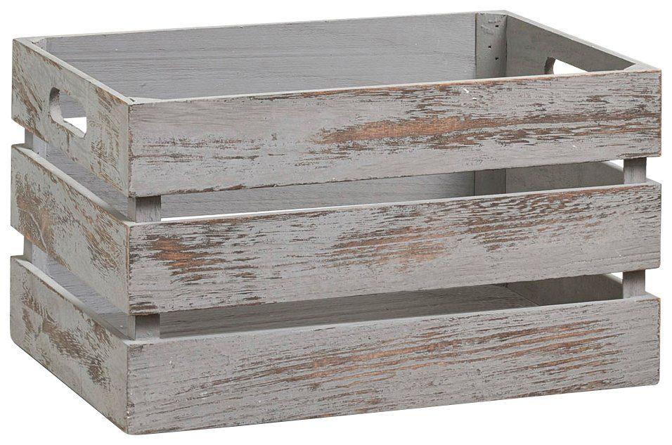 Zeller Vintage Holzkiste zur Aufbewahrung, Farbe grau, Maße 35x25x20 cm