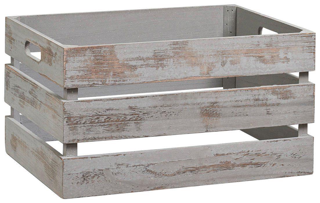 Vintage Holzkiste zur Aufbewahrung, Farbe grau, Maße 39x29x21 cm