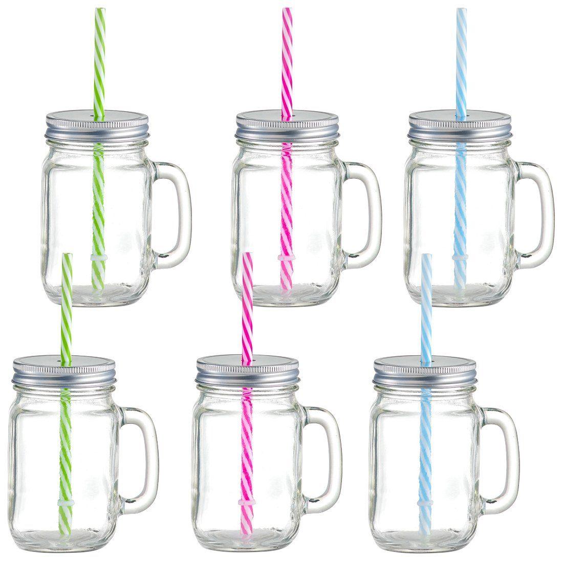 Trinkglas »Countrystyle« mit Henkel und Strohhalm, 6er-Set