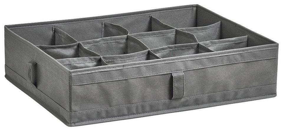 Faltbare Aufbewahrungsbox für Wäsche »12 Fächer«, 44x34x11 cm in grau