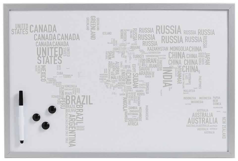 Magnet-/Schreibtafel »World Letters«, alugrau, 60x40 cm in grau
