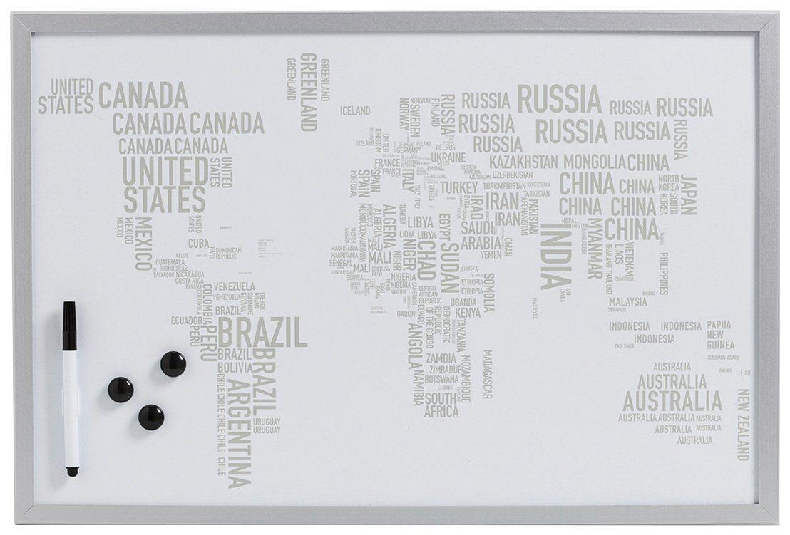 Magnet-/Schreibtafel »World Letters«, alugrau, 60x40 cm