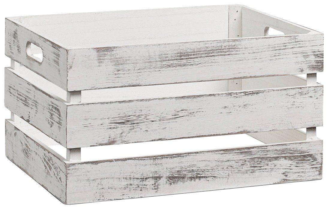 Vintage Holzkiste zur Aufbewahrung, Farbe weiß, Maße 39x29x21 cm
