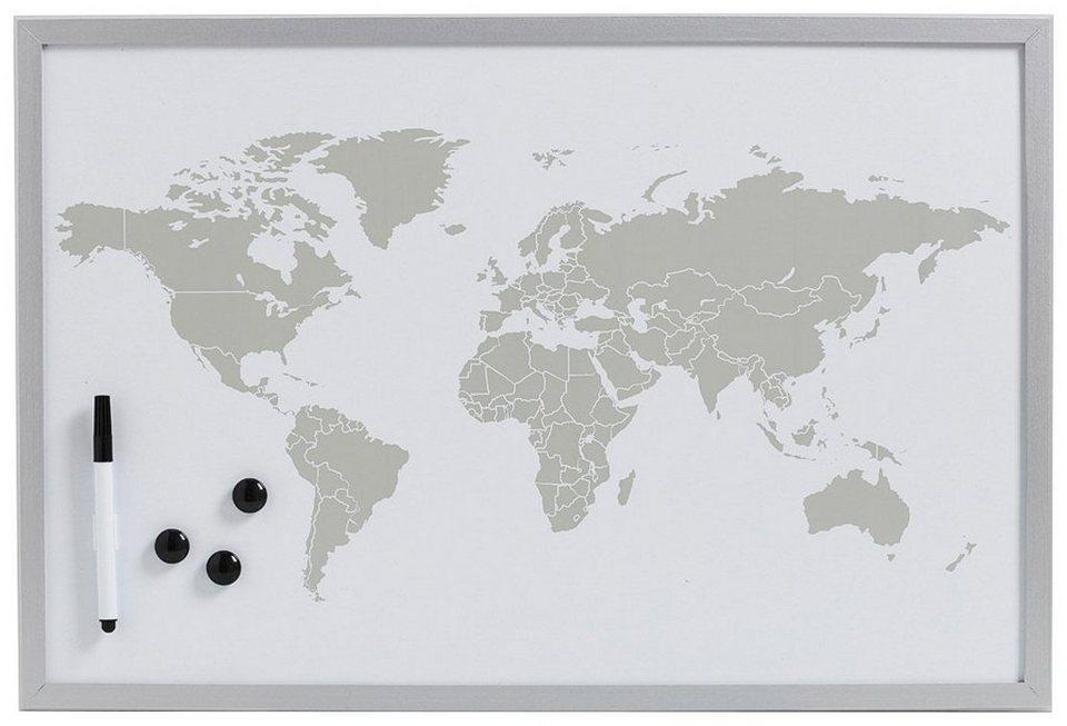 Magnet-/Schreibtafel »World«, alugrau, 60x40 cm in grau
