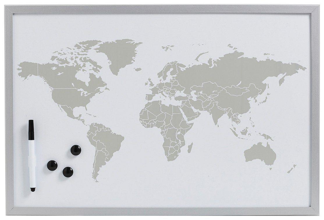 Magnet-/Schreibtafel »World«, alugrau, 60x40 cm