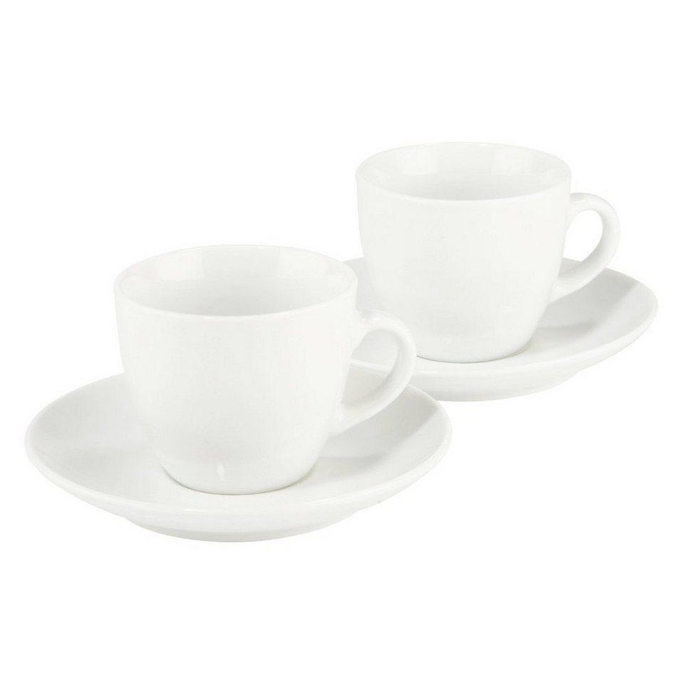 Xavax Espressotassen Set 4-teilig, 2 Tassen, 2 Untertassen, 70 ml »Vacant, Steingut, Mokkatasse« in Weiss