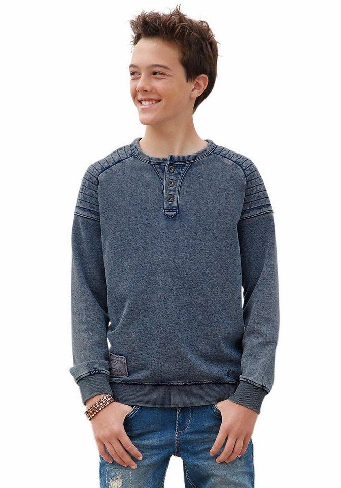s.Oliver RED LABEL Junior Sweatshirt in verwaschener Optik in blue-used