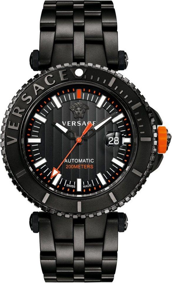 Versace Automatikuhr »V-RACE DRIVER VAL010016« mit Wechselband aus Silikon (Set, 2 tlg.) in schwarz