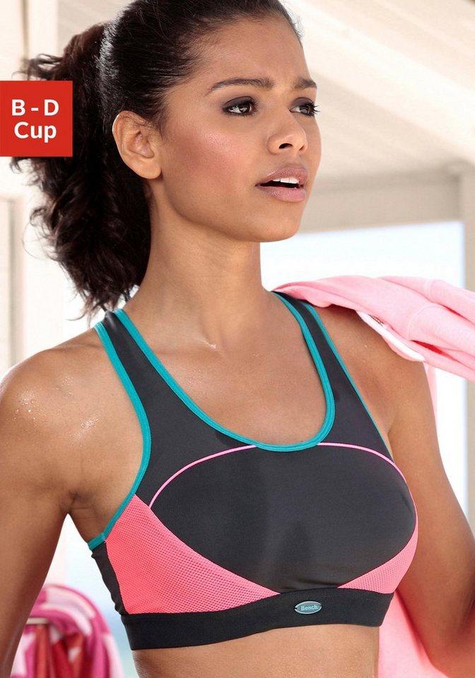 Bench Schalen-Sport-BH ohne Bügel und sportlichem Ringerrücken für Sportarten starker Belastbarkeit in grau-pink