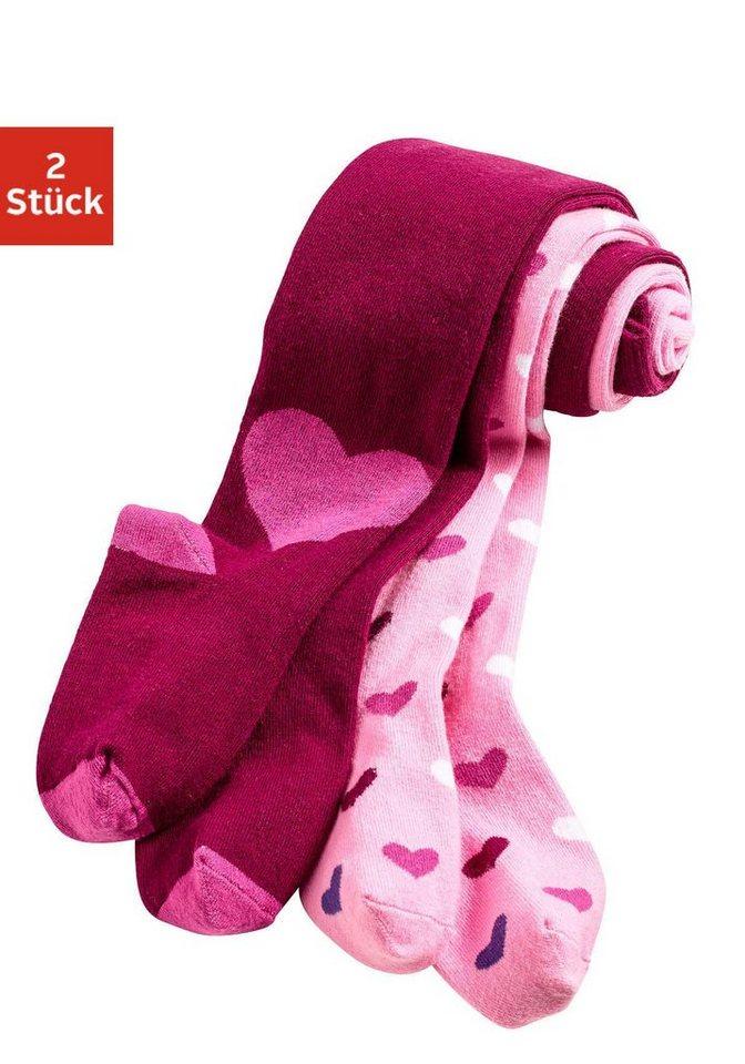 Vivance Kinder Strumpfhosen (2 Stück) mit Herzchenmuster in 1x rosa mit Herzen, 1x beere mit Herzen