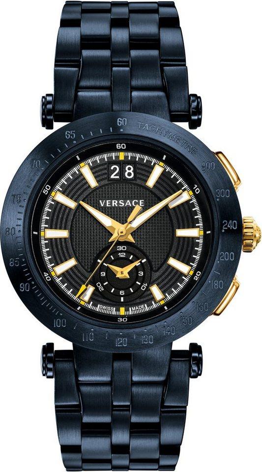 Versace Schweizer Uhr »V-RACE SPORT VAH050016« 2 von 5 Zeiger beleuchtet in blau-blau