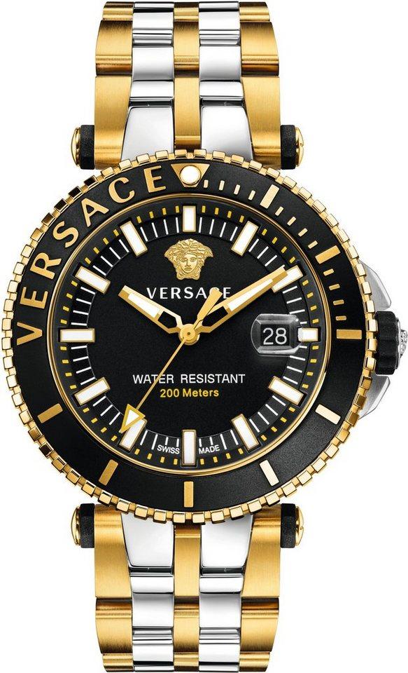 Versace Schweizer Uhr »V-RACE DRIVER VAK040016« 3 von 3 Zeiger beleuchtet in silberfarben-goldfarben