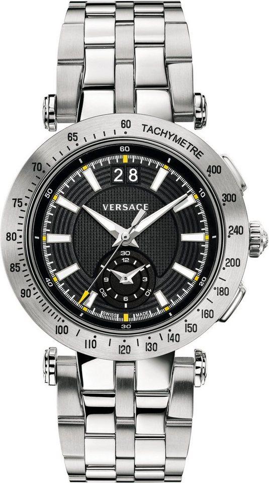 Versace Schweizer Uhr »V-RACE SPORT VAH010016« mit Wechselband aus echtem Leder (Set, 2 tlg.) in silberfarben-schwarz