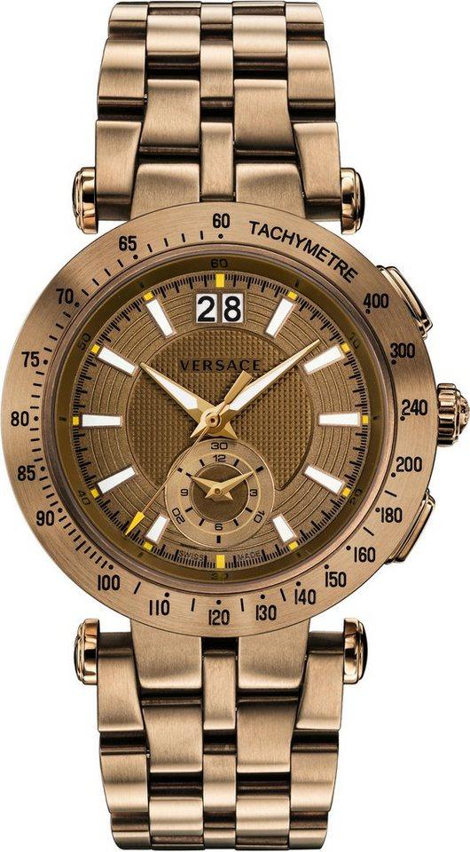 Versace Schweizer Uhr »V-RACE SPORT VAH060016« 2 von 5 Zeiger beleuchtet in braun-braun