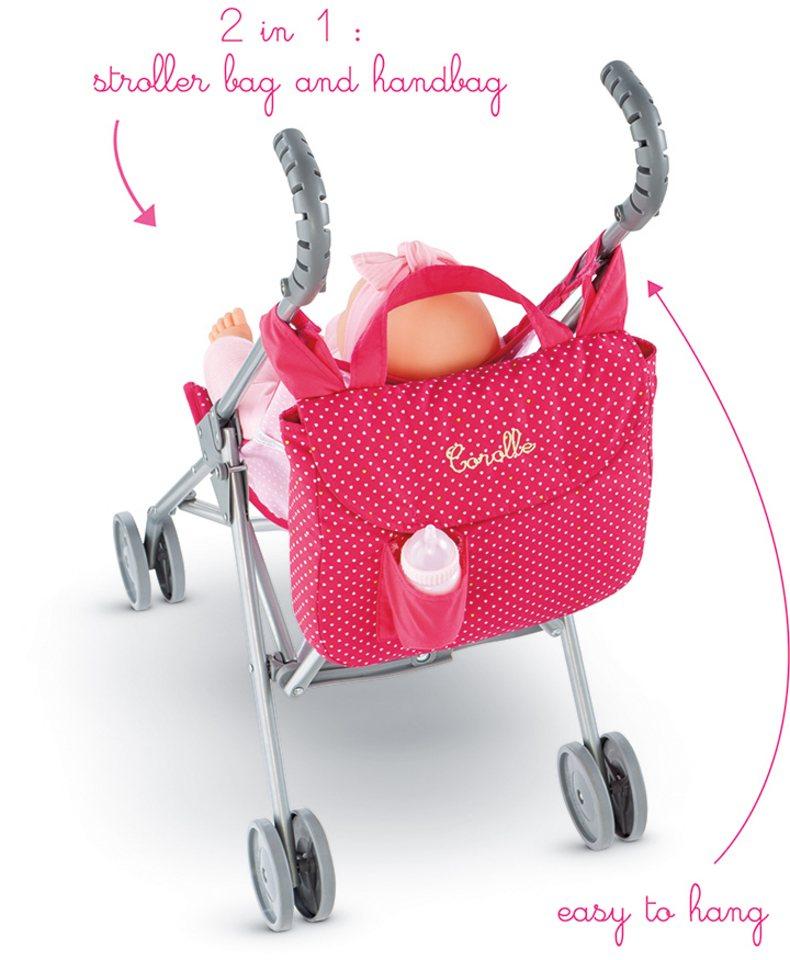 Corolle 2in1 Wickeltasche für Puppenwagen, »Kinderwagentasche Mon Classique« in pink