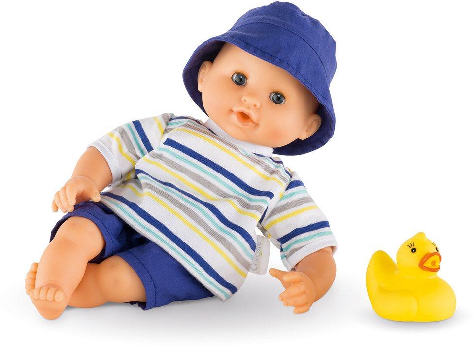 Corolle Babypuppe mit gelber Quietscheente, »Badepuppe Junge 30cm« in blau