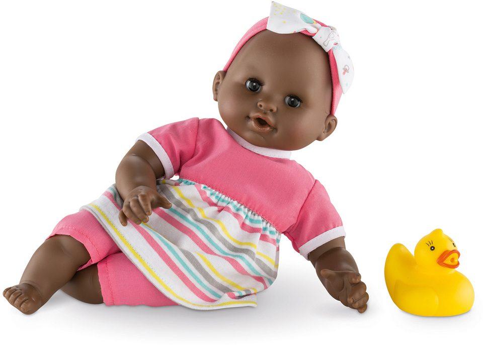 Corolle Babypuppe mit gelber Quietscheente, »Badepuppe Mädchen dunkelhäutig 30cm«