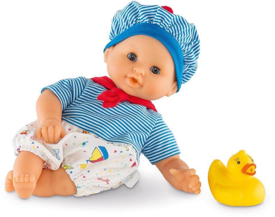 Corolle Babypuppe mit gelber Quietscheente, »Badepuppe Mädchen maritim 30cm« in blau