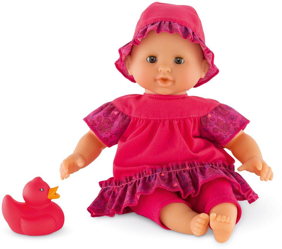 Corolle Babypuppe mit pinker Quietscheente, »Badepuppe Mädchen Erdbeere 30cm« in pink