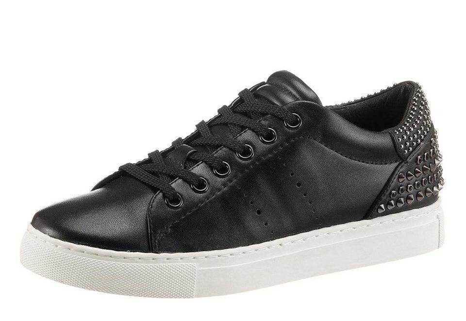 Lola Cruz Sneaker mit Nieten und Steinchen in schwarz