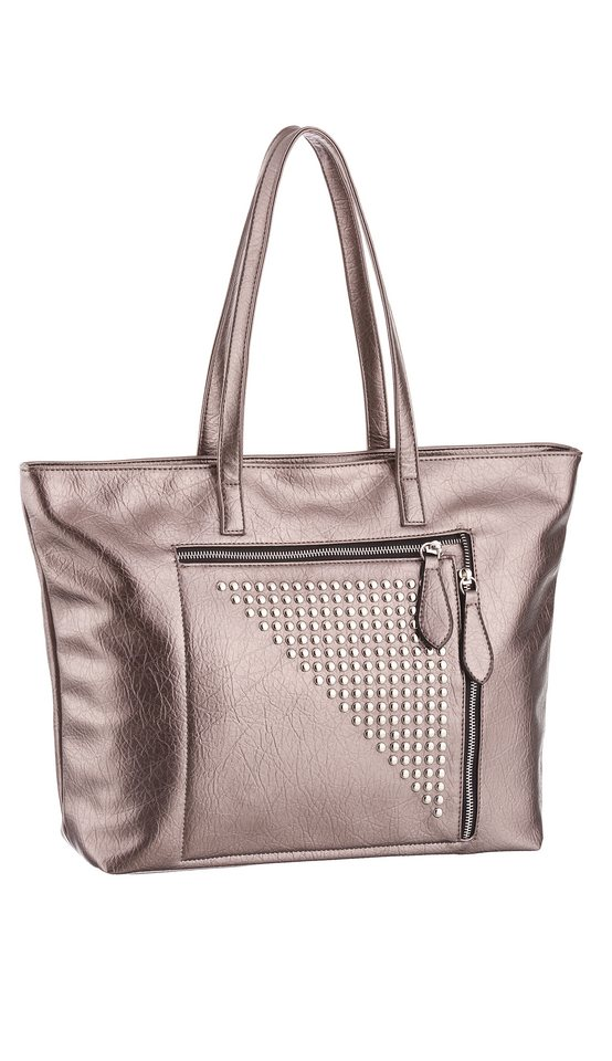 Melrose Shopper in Metallic Optik in bronzefarben