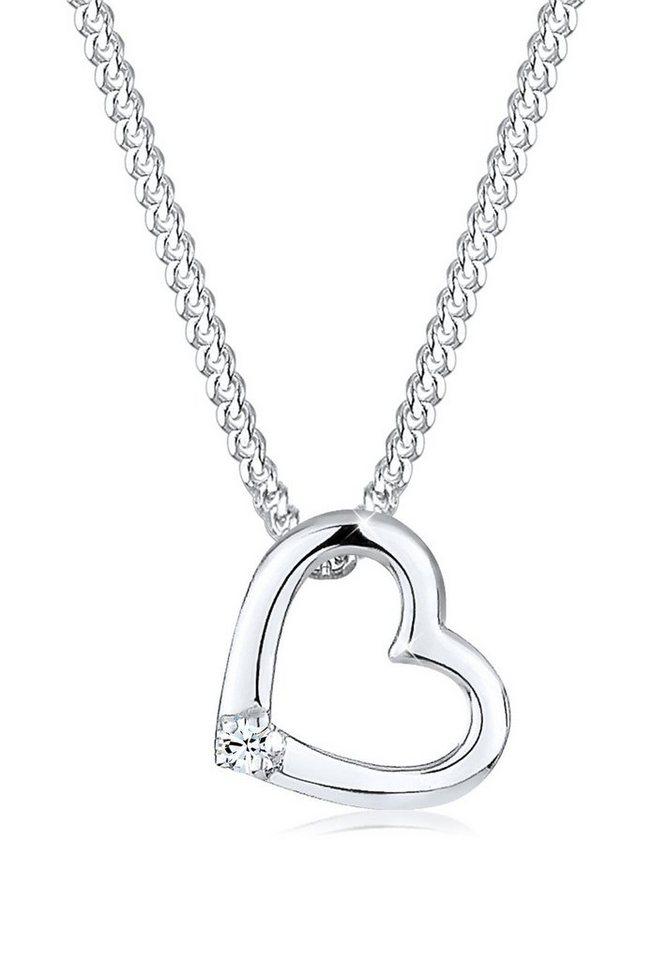 Elli Halskette »Herz Klassisch Swarovski® Kristall 925 Silber« in Weiß