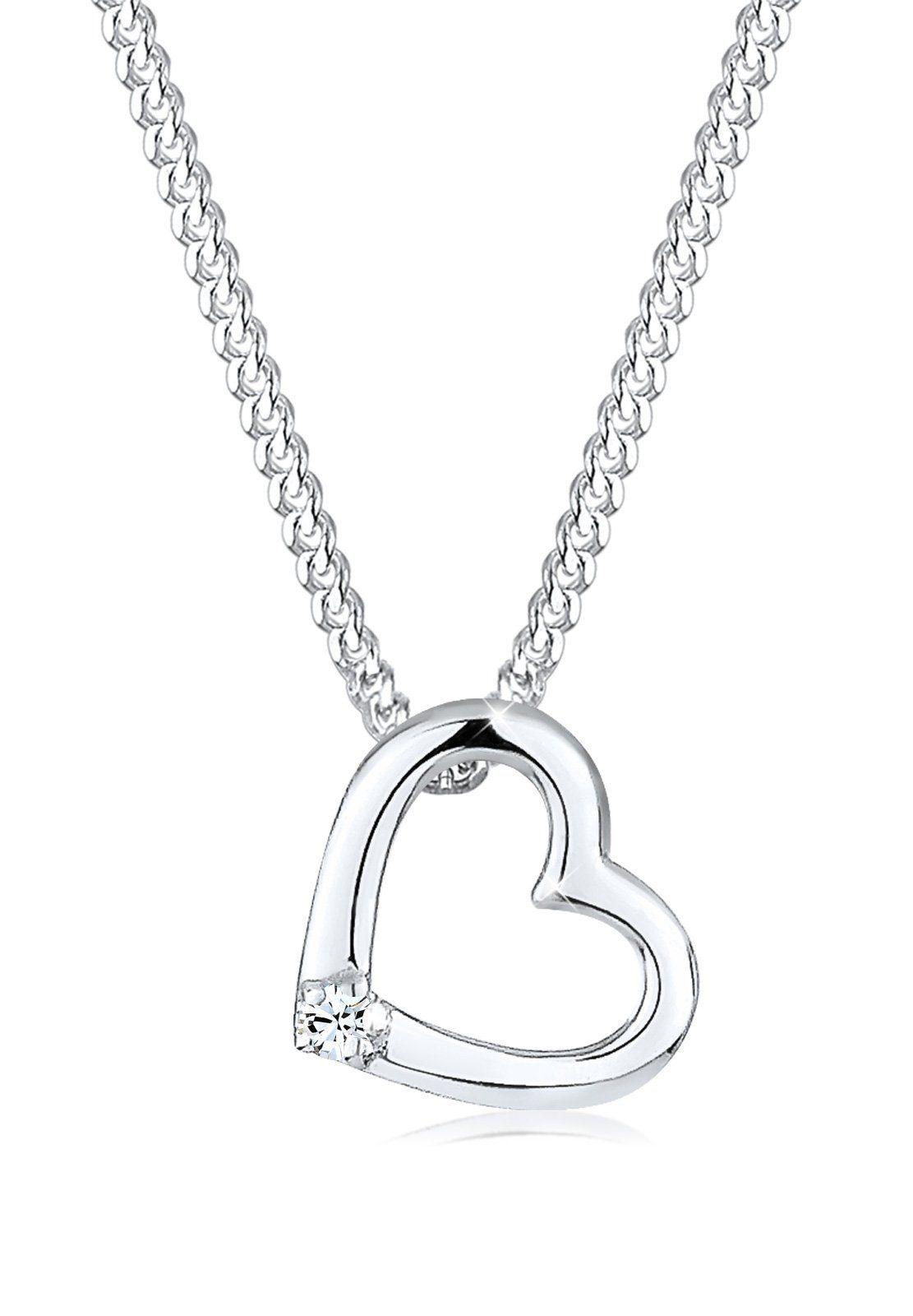 Elli Halskette »Herz Klassisch Swarovski® Kristall 925 Silber«