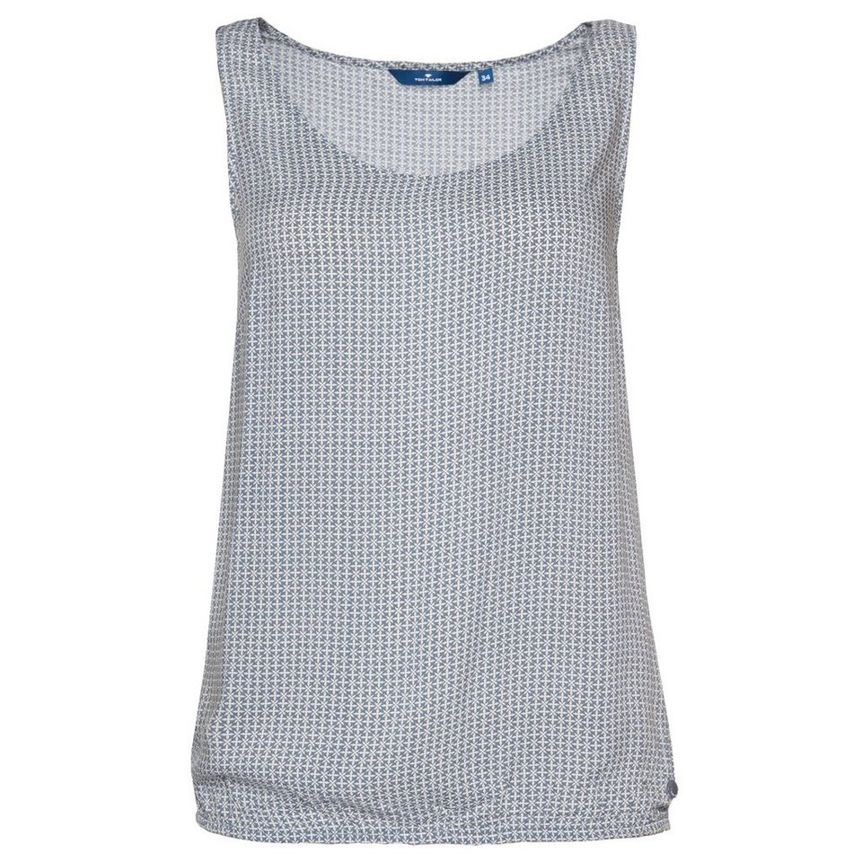TOM TAILOR Bluse »gemustertes Sommerblusentop« in steal blue