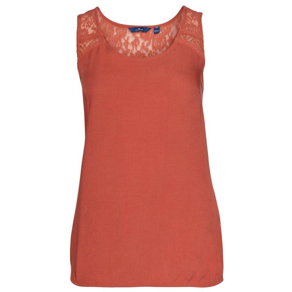TOM TAILOR Bluse »sommerliches Top mit Spitzen-Detail« in terracotta red
