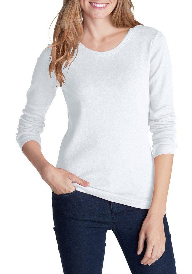 Eddie Bauer Shirt mit Langarm und Rundhalsausschnitt in Weiß
