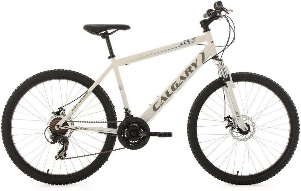 KS Cycling Hardtail-Mountainbike Herren, 26 Zoll, 21 Gang-ShimanoTourney Kettenschaltung, »Calgary« in weiß