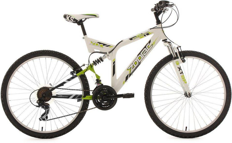 KS Cycling Fully-Mountainbike, 26 Zoll, 21 Gang-ShimanoTourney Kettenschaltung, »Zodiac« in weiß
