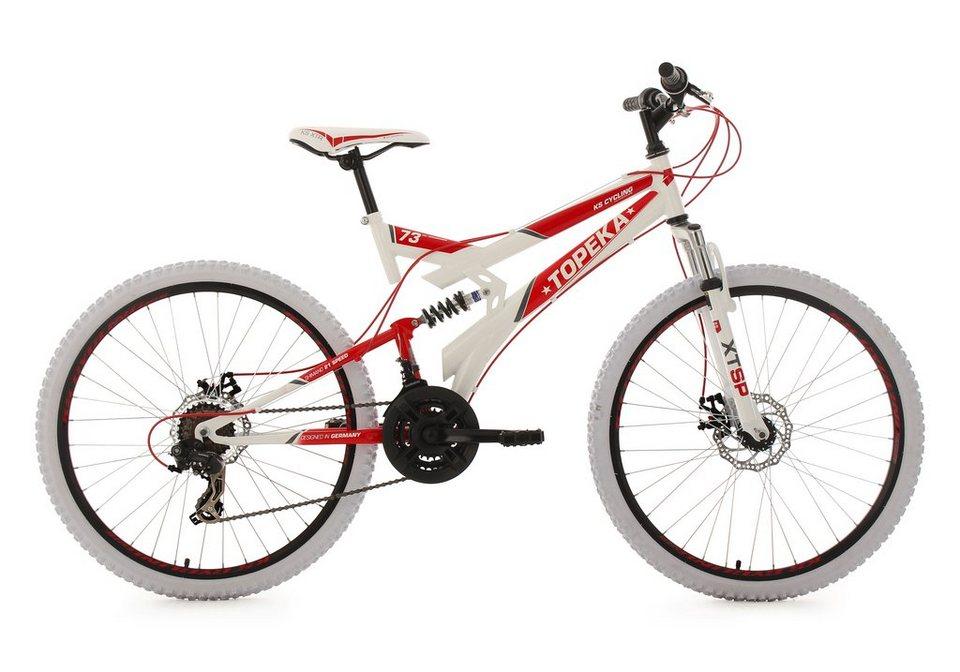 KS Cycling Fully-Mountainbike, 26 Zoll, 21 Gang-ShimanoTourney Kettenschaltung, »Topeka« in weiß-rot