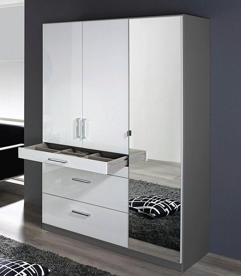 rauch Kleiderschrank mit Spiegel in graumetallic/Hochglanz weiß