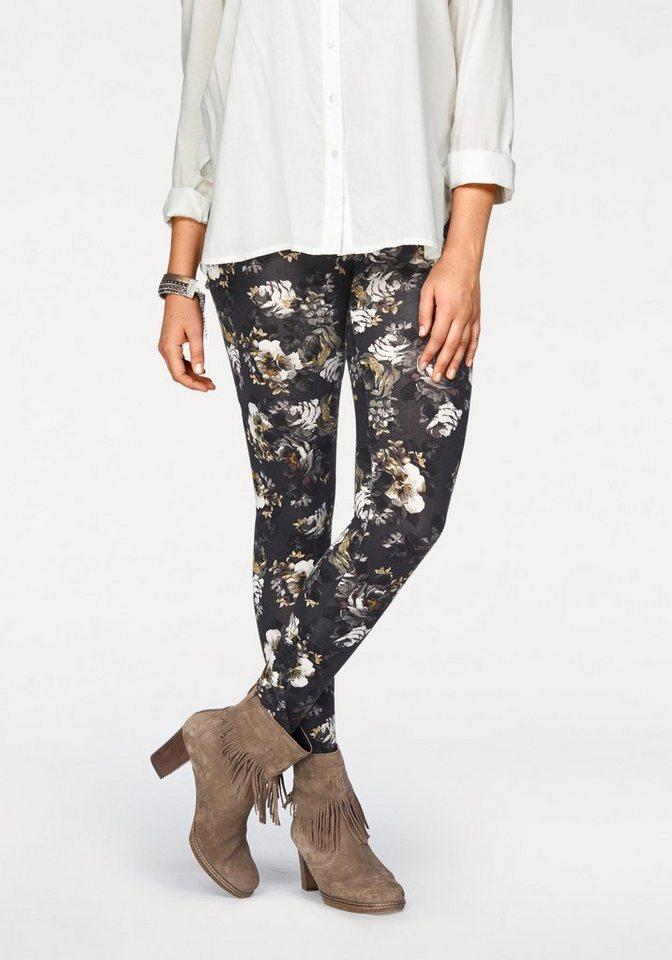 Boysen's Leggings mit Blumen-Druck in khaki-schwarz