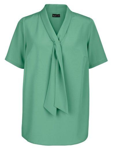 m. collection Bluse mit streckendem V-Ausschnitt in Krawatten-Optik