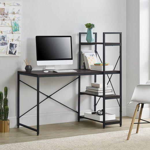 en.casa Schreibtisch, »Stavanger« Bürotisch mit Regal PC Tisch in verschiedenen Farben