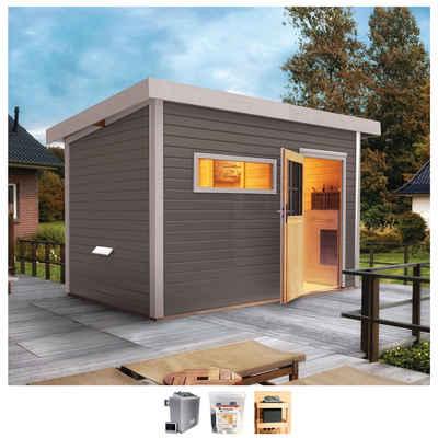 Karibu Saunahaus »Uwe 2«, BxTxH: 337 x 231 x 239 cm, 38 mm, 9-kW-Ofen mit ext. Steuerung