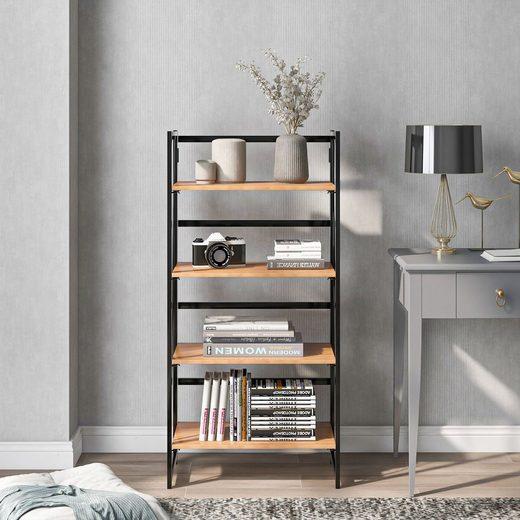 Masbekte Bücherregal, Standregal, Küchenregal aus Holz und Metall, mit 4 Ebenen, vintage, Flur, Küche, Büro