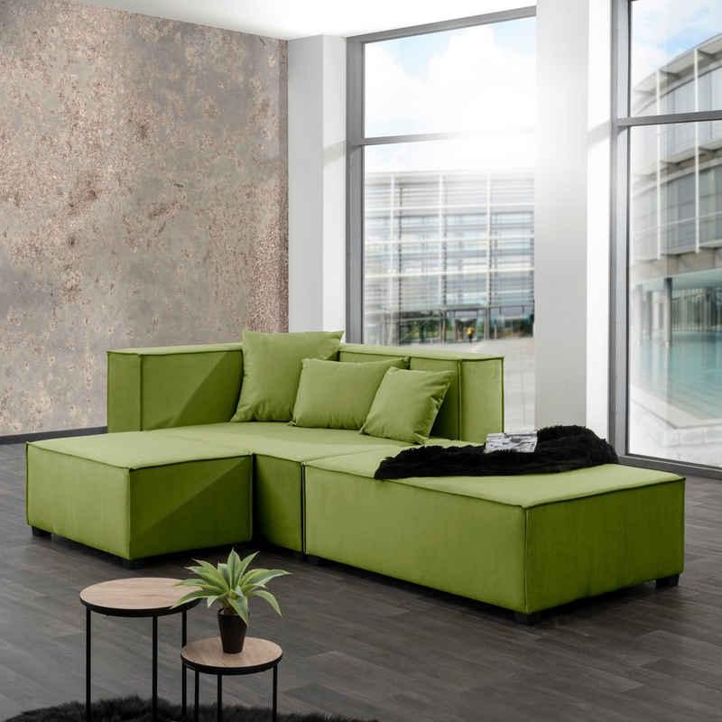 Max Winzer® Wohnlandschaft »MOVE«, Set, Sofa-Set 08 aus 5 Sitz-Elementen, inklusive 3 Zierkissen, individuell kombinierbar