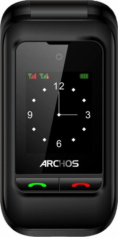 Archos F24 Flip Dual SIM Handy, mit zwei Displays 6,1 cm und 4,5 cm, Tastatur mit großen Tasten in schwarz