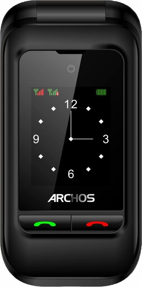 Archos F24 Flip Dual SIM Handy, mit zwei Displays 6,1 cm und 4,5 cm, Tastatur mit großen Tasten