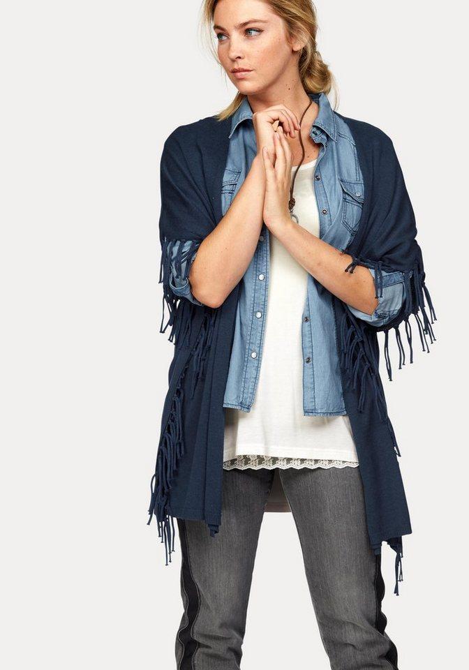 Boysen's Strickcape mit modischen Fransen in dunkelblau