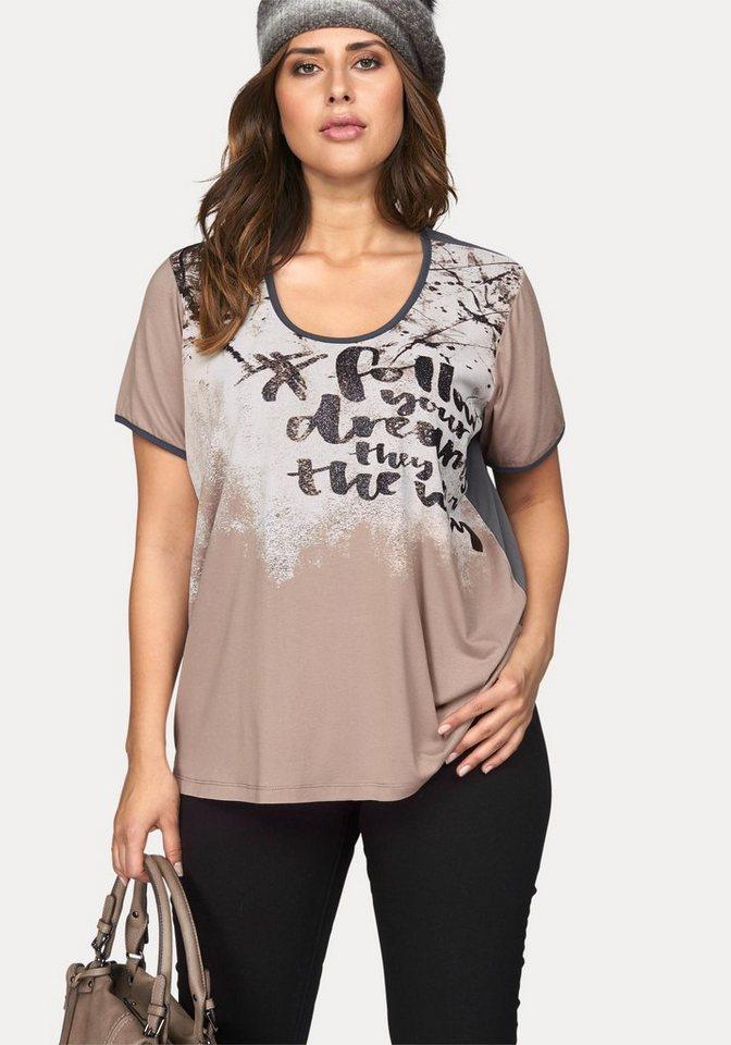 Zizzi Print-Shirt mit Vintage-Glitzer-Druck in altrosa-grau-bedruckt
